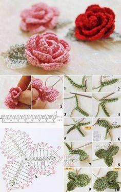 Watch The Video Splendid Crochet a Puff Flower Ideas. Wonderful Crochet a Puff Flower Ideas. Crochet Puff Flower, Crochet Bows, Crochet Flower Tutorial, Crochet Leaves, Crochet Motif, Crochet Flowers, Crochet Stitches, Crochet Bouquet, Crochet Butterfly