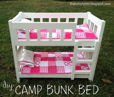 Camp Style Bunk Beds for American Girl or 18 Dolls - This site shows how to build furniture (kids, adults, dolls,...) with complete plans and tutorials. And it's Free!