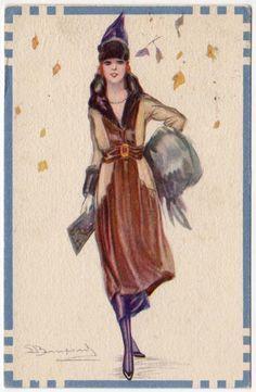 Bompard Artwork Postcard of An Art Deco Woman in Fall Leaves | eBay
