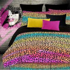 Colorful Leopard Animal Print Bedding Set for Girls #kidsroomstore $89.99