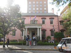 The Olde Pink house/restaurant in Savannah, GA. if you are looking to eat here make sure you call and make a reservation Photo taken by: http://pinterest.com/amyalohio/