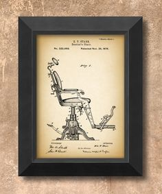 DENTIST'S CHAIR (circa 1879)  Stylish modern art print for home or office decor, beautiful image quality, a wonderful gift for dentist, orthodontist,