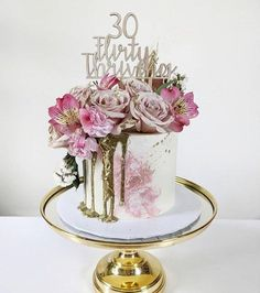 30th Birthday Cake For Women, 30th Birthday Cake Topper, 30th Birthday Decorations, 24th Birthday, 30th Birthday Cake For Her, Birthday Cake For Women Elegant, Birthday Ideas, Birthday Cake With Flowers, Birthday Quotes