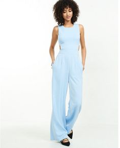 Light blue jumpsuit for spring and summer; Love the flared bottoms and fitted top