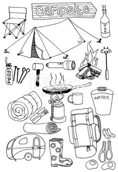"Hand drawn doodles on a camping theme. - - ""Hand drawn doodles on a camping theme. Doodle Drawings, Doodle Art, Doodle Challenge, Kombi Hippie, Camping Theme, Tent Camping, Camping Icons, Camping Site, Camping Hacks"