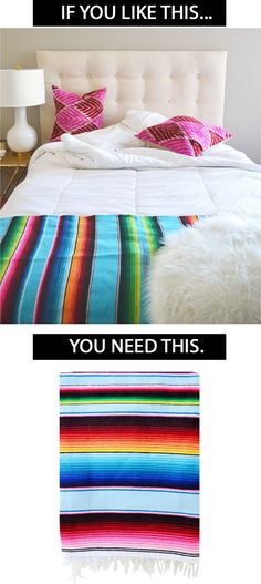 Add a bright touch to a neutral bedroom with a Mexican Blanket @luluandgeorgia
