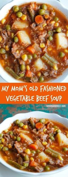 My Mom's Old Fashioned Vegetable Beef Soup - an easy dinner recipe that can be made in the slow cooker! Beef Soup Recipes, Steak Recipes, Easy Dinner Recipes, Chili, Canning, Vegetables, Healthy, Summer, Tips
