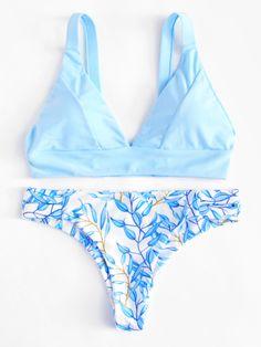 ef1058fa4417 Romwe Leaf Print Bikini Set Cute Bikinis, Cute Swimsuits, Summer Bathing  Suits, Summer