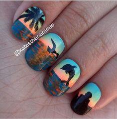 Love the ocean themed nails!
