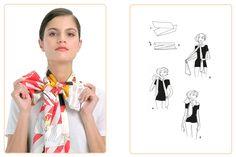 Ce nouage « Papillon » est réalisable avec un Maxi-Twilly. Jouez avec votre carré Hermès avec l'application Silk Knots ! #Hermes #Silk #SilkKnots