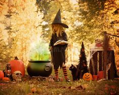 Little Girl in Witch Costume Outside with Magic Book. A little girl is dressed u , Halloween Scene, Halloween Pictures, Fall Pictures, Halloween Kids, Halloween Decorations, Halloween Witches, Halloween Party, Halloween Photography, Autumn Photography