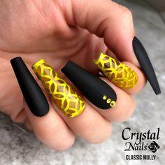 """0 Me gusta, 0 comentarios - Crystal Nails España (@crystalnailsespana) en Instagram: """"Negro 3S12 con MattEver efecto velvet, esmalte Crystal Glassy Yellow & Swarovsky. 🖤💛💅…"""" Crystal Nails, Velvet, Crystals, Instagram, Black, Crystal, Crystals Minerals"""