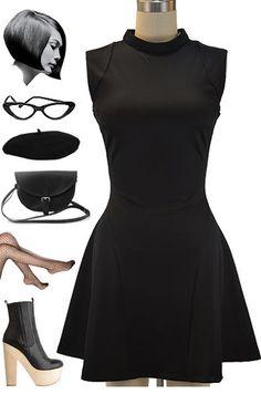 60s Beatnik Fashion   60s Style Mod Beatnik Black Nasty Gal Dream Flower Dress with Full A ...