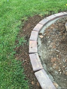 How To Install Brick Garden Borders…The Easy Way! - Adding more stones and concrete Inside Effektive Bilder, die wir über landscaping aesthetic anbie - Concrete Landscape Edging, Brick Garden Edging, Landscape Bricks, Garden Pavers, Landscape Curbing, Garden Borders, Concrete Edger, Evergreen Landscape, Lawn Edging