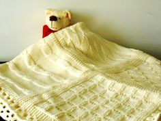 knitted blanket luxury chunky knit afghan cottage chic knit throw made to order blanket in pure Merino wool