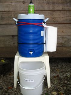 Sanitation Station for camping. Such a great idea for hand washing with little ones.