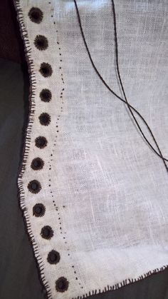 chocolate linen gamurra detail + linen braided lacing cord