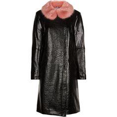 Shrimps Black Faux Leather Rose Jacket ($660) via Polyvore featuring outerwear, jackets, vegan leather jacket, faux leather jacket, synthetic leather jacket, fake leather jacket and imitation leather jacket