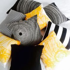 Redecorate your home this summer with these fun and chic pillows! Home Textile, Textile Design, Fabric Design, Custom Pillows, Decorative Pillows, Textiles, Marimekko, Scandinavian Interior, Soft Furnishings