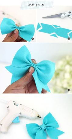 new ideas baby diy sewing homemade gifts children Ribbon Crafts, Felt Crafts, Ribbon Bow Diy, Diy Bebe, Felt Bows, Diy Couture, Diy Hair Bows, Hair Bows For Girls, Toddler Hair Bows