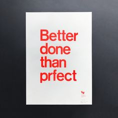 p98a | Better done than prfect (3rd edition)