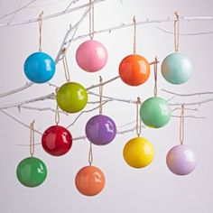 Create an extra merry tree this year with our colorful Christmas ball ornaments.  Each set of 12 ornaments is made of paper (so it's not breakable) and comes in bright and glossy hues.