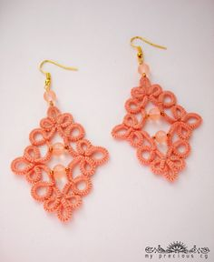 Tatted lace earrings . by MypreciousCG on Etsy