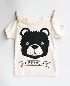 Brave Bear  kid's bear hand printed t-shirt by EarthCadets on Etsy