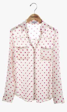 White Multicolor Polka Dot Print  CONVERTIBLE SLEEVE PORTOFINO SHIRT Top @ EXPRESS $60