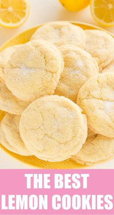 The BEST Lemon Sugar Cookies! A family favorite recipe passed down from my grand The post The BEST Lemon Sugar Cookies! A family favorite recipe passed down from my grand appeared first on Recipes. Gooey Butter Cookies, Lemon Sugar Cookies, Chewy Sugar Cookies, Sugar Cookies Recipe, Yummy Cookies, Cookies Et Biscuits, Baking Cookies, Lemon Cookies Easy, Lemon Crinkle Cookies