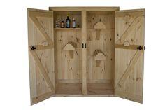 Double Door Pine Cabinet with 3 Saddle Racks