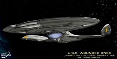 In late designer John Eaves was asked to create a new Federation starship design for the upcoming 'What We Left Behind' documentary about the cast. Wounded Knee (Variant of John Eaves design) Spaceship Art, Spaceship Design, Spaceship Concept, Stargate, Star Trek Bridge, Starfleet Ships, Star Trek Starships, Star Trek Ships, Star Trek Universe