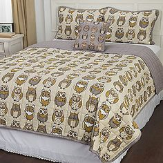 "Bedtime Stories ""Night Owl"" Microfiber Printed Four-Piece Coverlet Set"