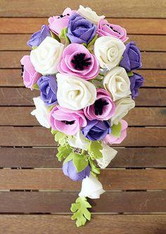 elegant felt flowers , enjoy it , do it your own Felt Flower Bouquet, Fabric Bouquet, Felt Flowers, Crochet Flowers, Cloth Flowers, Fabric Flowers, Wedding Bouquets, Wedding Flowers, All Saints Day