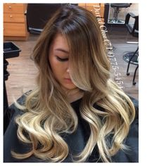 Hair 2001 - Asian blond Ombre Balayage; notice how the hair color glows! - Westminster, CA, United States