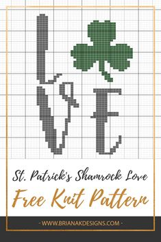 A fun and free St. Patrick's Shamrock Knit Pillow Cover Pattern by Briana K Desi. : A fun and free St. Patrick's Shamrock Knit Pillow Cover Pattern by Briana K Designs. Perfect for holiday home decor. Crochet Pillow Cases, Knit Pillow, Knitting Patterns Free, Free Knitting, Corner To Corner Crochet, Crochet Chart, Cross Stitching, Cross Stitch Patterns, Pillow Covers