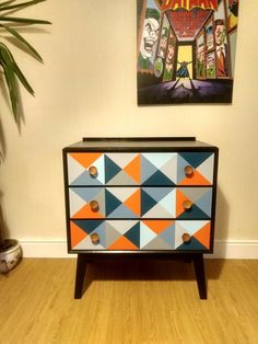 Geometric Mid Century Chest of Drawers - Bedside - Retro - Meredew Furniture | eBay