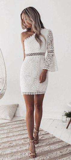 #winter #outfits white floral lace one-shoulder mini dress