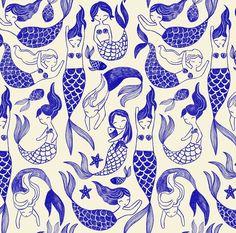 Mermaid Illustration, Pattern Illustration, Mermaid Art, Mermaid Prints, Mermaid Paintings, Vintage Mermaid, Mermaids And Mermen, Fantasy Mermaids, Illustrations