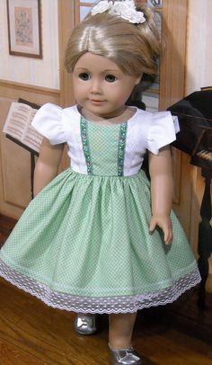 Green Juliette Dress and Petticoat for AG by SugarloafDollClothes on Etsy  $49.00