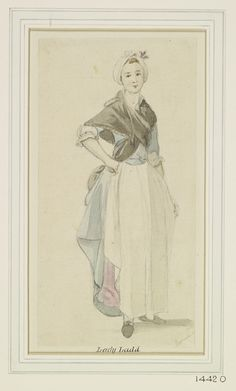 A pencil and watercolour drawing of a girl standing with her hand on her hip, wearing a blue dress with a white apron and black shawl. Inscribed below on the modern mount, probably copied from an earlier one, 'Lady Ladd'. 18th Century Clothing, The Royal Collection, Girl Standing, Historical Clothing, Historical Dress, Watercolor Drawing, Victoria And Albert Museum, Working Woman, Costume