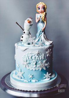Elsa and Olaf by Sandra Draskovic Disney Birthday, Birthday Cakes, Fondant Cakes, Olaf, Disney Frozen, Cake Toppers, Cake Decorating, Bakery, Cake Flowers
