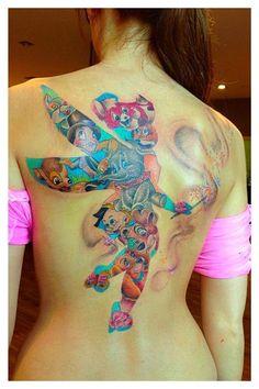 All Disney lovers, check small & big Disney tattoos of favourite Disney characters - tattoos with peter pan, micke, princess jasmine etc. Stomach Tattoos, Body Art Tattoos, New Tattoos, Sleeve Tattoos, Cool Tattoos, Tatoos, Girly Tattoos, Disney Tattoos, Cartoon Tattoos