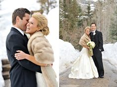 Another perfect winter Wedding  #Stole #WeddingAccessory #BridalAccessory photo!  See entire collection at www.whitestole.com
