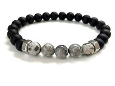 awesome Men's Bead Bracelet. Men's Stone Jewelry. Stretch Bracelet. Elastic Bracelet. Black Onyx, Gray Jasper Stone Bracelet. Gemstone Jewelry