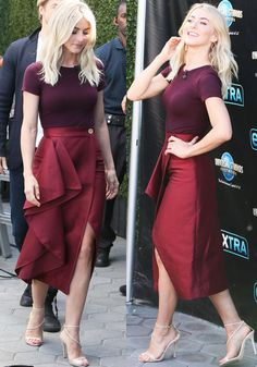 Julianne Hough paired a plum tee with a gorgeous maroon wrap skirt by Solace London