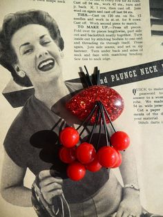 Ruby red 40s 50s confetti lucite style novelty red cherry brooch by Luxulite