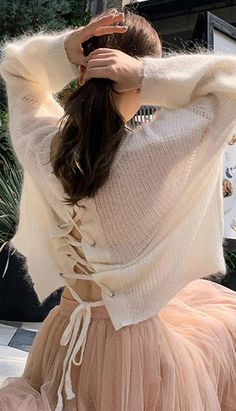 Fashiontroy Street Style long sleeves crew neck white oversized back lace-up sweater spring summer Petite Clothing Online, Asian Street Style, Petite Outfits, Workout Wear, Korean Fashion, Crew Neck, Tulle, Spring Summer, Lace Up