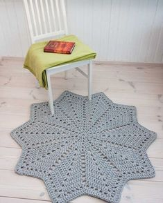 Grey star shaped doily rug - handmade rug - cotton rug - crochet carpet - lace r.-- Grey star shaped doily rug – handmade rug – cotton rug – crochet carpet – lace rug – floor mat – round ripple – home decor 117 cm/ 46 inches Crochet Doily Rug, Crochet Carpet, Crochet Motifs, Crochet Home, Crochet Patterns, Cotton Crochet, Diy Carpet, Rugs On Carpet, Handmade Home