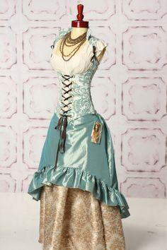 Light blue tonal vine vixen.  Light blue stagecoach skirt.  Ivory damask swagger skirt.